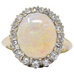 Victorian 0.65 Carat Diamond, Opal and 14 Karat Gold Ring