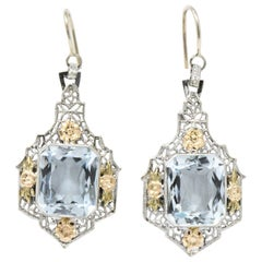 Art Deco 9.00 Carat Aquamarine and 14 Karat Tri-Color Gold Drop Earrings