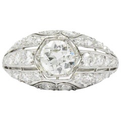 Edwardian 2.06 CTW Diamond Platinum Alternative Ring GIA Certified