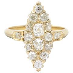 Victorian 0.90 Carat Diamond 14 Karat Gold Alternative Navette Engagement Ring