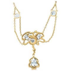 Art Nouveau Aquamarine 14 Karat Gold Swag Necklace