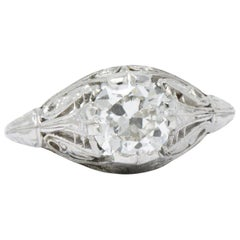 1.09 Carat Diamond Platinum Art Deco Engagement Ring GIA
