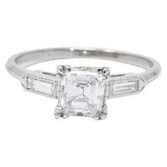 1.07 Carat Asscher Cut Diamond and Platinum Engagement Ring GIA
