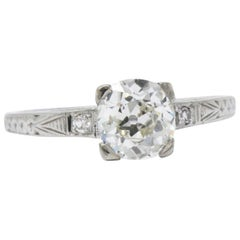 Enchanting Art Deco 1.25 CTW Diamond 18K White Gold Engagement Alternative Ring