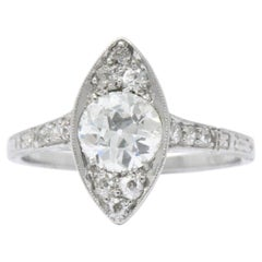 1.06 Carat Diamond Platinum Art Deco Alternative Engagement Ring GIA