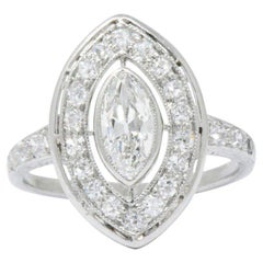 Sensational Art Deco .95 CTW Diamond & Platinum Alternative Engagement Ring