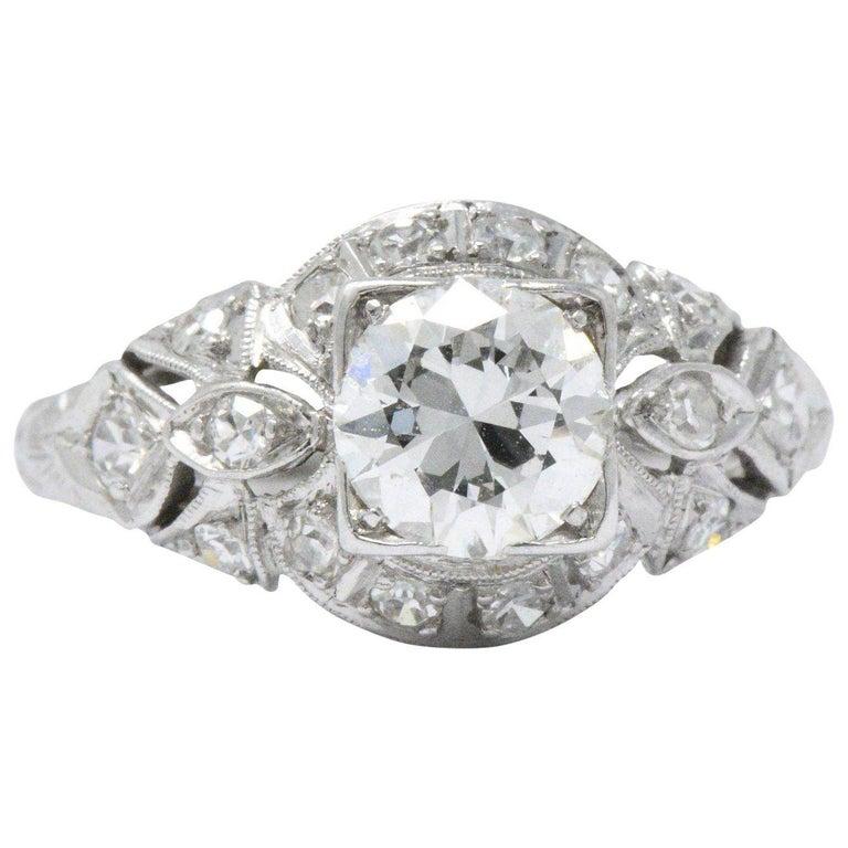 Vintage Art Deco 1.02 CTW Diamond Platinum Alternative Engagement Ring