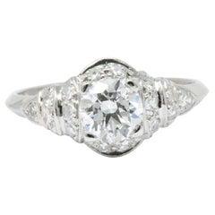Retro 1940's 1.10 CTW Diamond & Platinum Engagement Alternative Ring