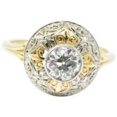 JABEL .75 CTW Old European Cut Diamond 14K Gold Tri-Color Dome Alternative Ring
