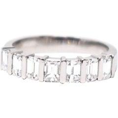 1.75 Carat Emerald Cut Diamond Platinum Modern Wedding Band Ring