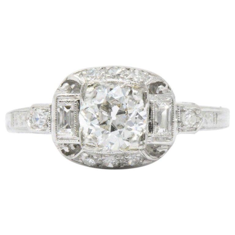 Lovely Art Deco .95 CTW Diamond Platinum Alternative Engagement Ring