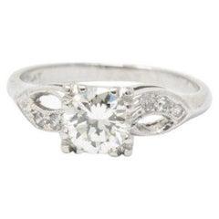 1940s 0.97 Carat Transitional Cut Diamond Platinum Engagement Ring