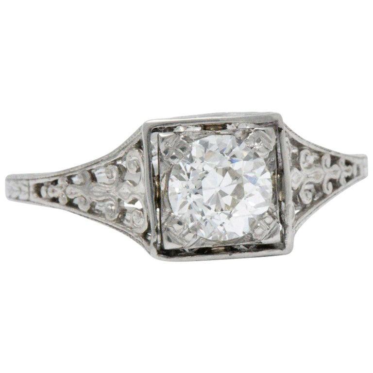 .75 Carat Diamond Platinum Art Deco Filigree Engagement Ring