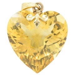 Art Nouveau Bailey Banks & Biddle 29.57 CaraTS Citrine Heart Gold Pendant