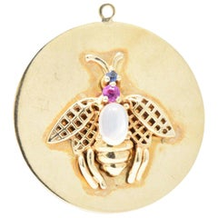 1940s Moonstone Sapphire Pink Sapphire 14 Karat Gold Large Insect Charm