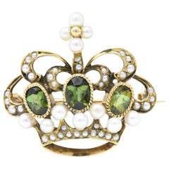 Late Victorian Peridot Seed Pearl 14 Karat Gold Crown Brooch Pin