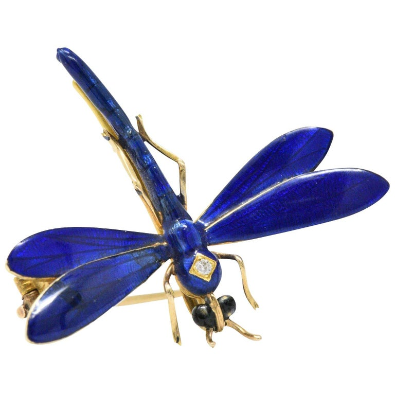 A.J. Hedges Art Nouveau Diamond Enamel 14 Karat Gold Dragonfly Pendant Brooch