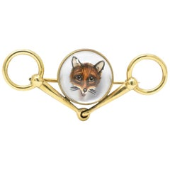 Tiffany & Co. Victorian Reverse Painted Carved Crystal Mother Pearl Fox Brooch