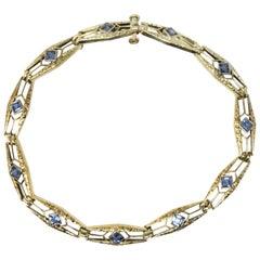 Krementz 1.76 Carat Sapphire 14 Karat Gold Art Nouveau Bracelet, circa 1910