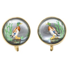 Nouveau Reverse Painted Carved Crystal Mother Pearl 14 Karat Gold Duck Earrings