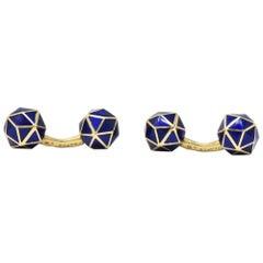 Enamel 18 Karat Gold Cufflinks Tiffany & Co. France