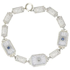 1930s Camphor Glass Diamond Sapphire 14 Karat White Gold Bracelet