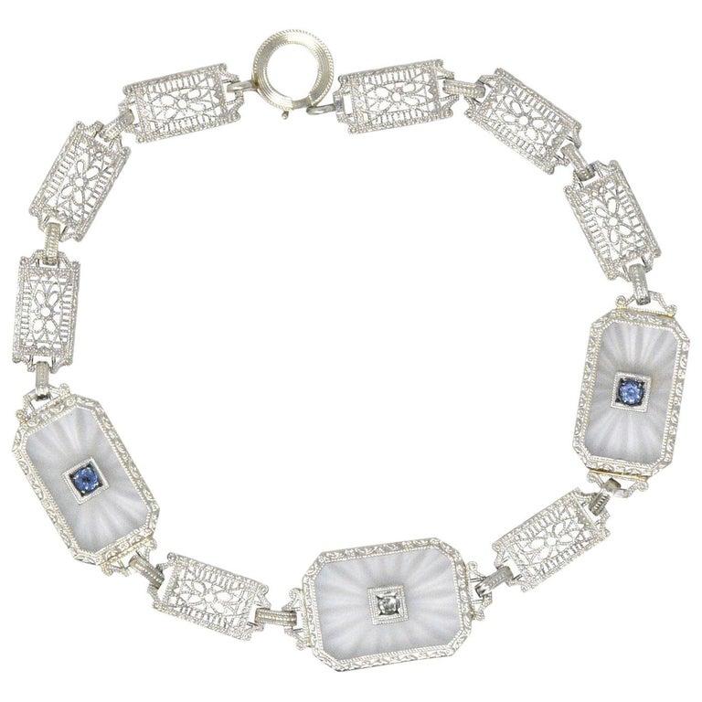 1930s Camphor Glass Diamond Sapphire 14 Karat White Gold Bracelet For Sale