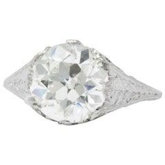 Edwardian 3.32 Carat Old European Diamond Platinum Engagement Ring GIA