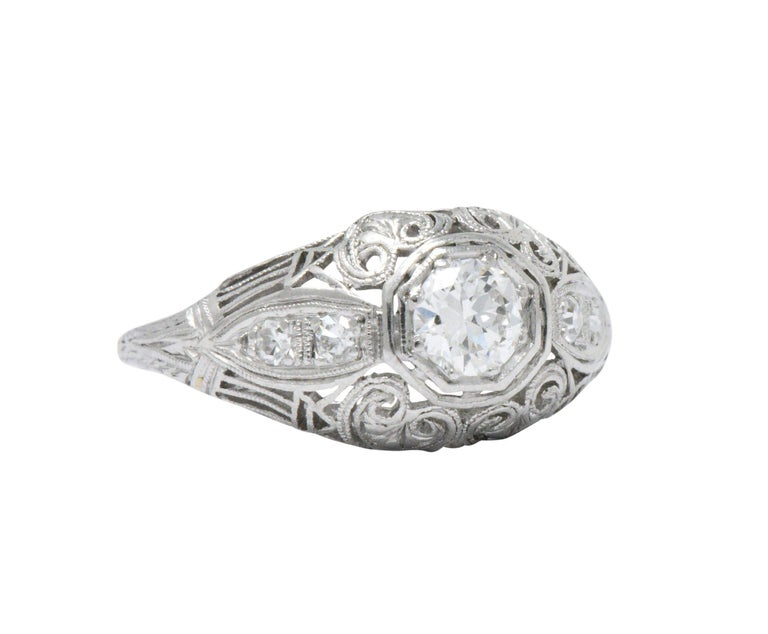 Old European Cut Art Deco 0.40 Carat Diamond Heart Filigree Platinum Engagement Ring For Sale