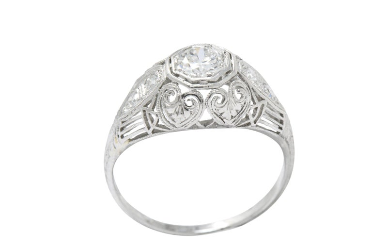 Art Deco 0.40 Carat Diamond Heart Filigree Platinum Engagement Ring In Good Condition For Sale In Philadelphia, PA