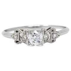 0.48 Carat Diamond Platinum 1940s Engagement Ring