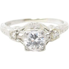 Art Deco 0.41 Carat Diamond Platinum Engagement Ring