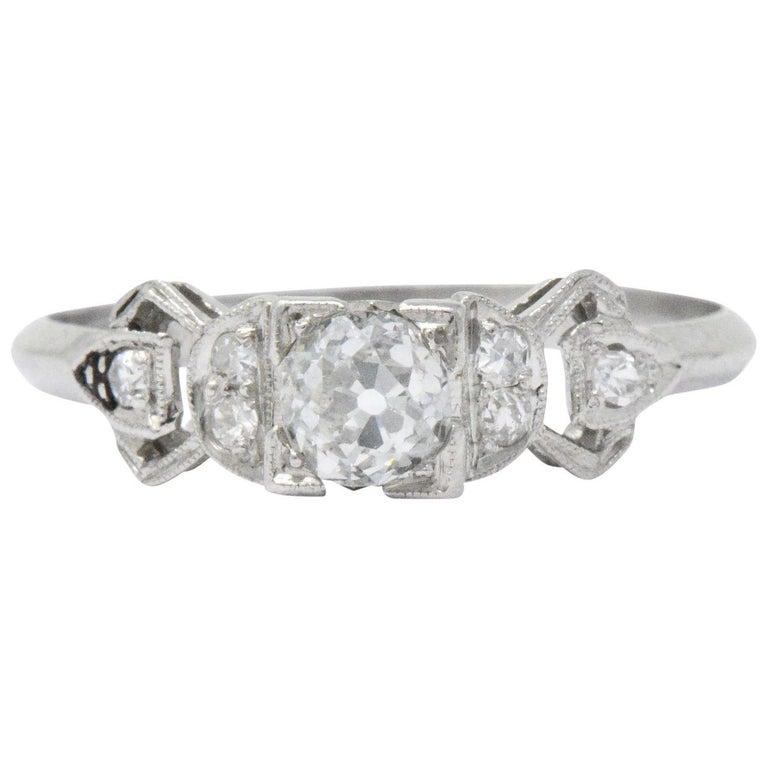Delightful Art Deco .48 CTW Diamond & Platinum Alternative Engagement Ring