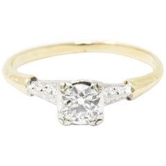 1940s 0.40 Carat Diamond 14 Karat Gold and Platinum Engagement Ring
