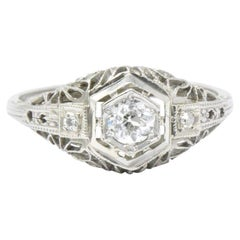 0.27 Carat Diamond and 14 Karat White Gold Art Deco Engagement Ring