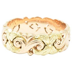 Jabel 14 Karat Yellow and Rose Gold Eternity Wedding Band Stackable Ring