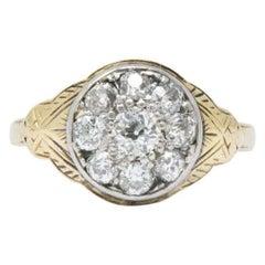 Victorian 0.80 Carat Diamond Platinum and 14 Karat Gold Cluster Ring