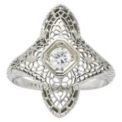 Edwardian 0.20 Carat Diamond and 18 Karat White Gold Ring