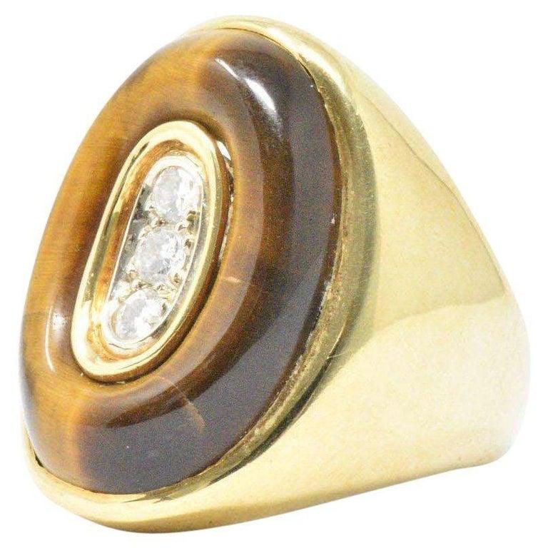 0.30 Carat Diamond Tiger's Eye and 18 Karat Gold Vintage Cocktail Ring For Sale
