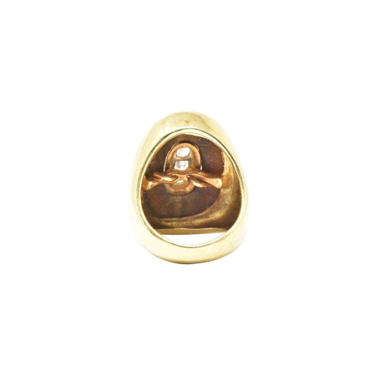 Retro 0.30 Carat Diamond Tiger's Eye and 18 Karat Gold Vintage Cocktail Ring For Sale