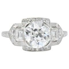 Art Deco 1.80 CTW Diamond & Platinum Alternative Ring, GIA Certified