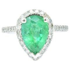 2.30 Carat Emerald Diamond and 14 Karat White Gold Ring