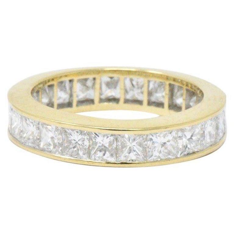 3.25 Carat Diamond and 18 Karat Yellow Gold Eternity Band Ring