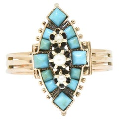 Victorian Turquoise Seed Pearl and 14 Karat Rose Gold Ring
