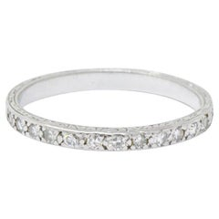 Edwardian 0.25 Carat Diamond and Platinum Band Stackable Ring
