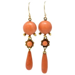 Pair of Victorian Coral and 14 Karat Gold Drop Earrings
