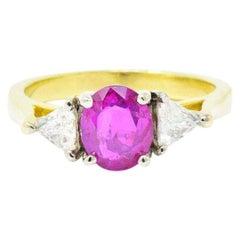 1.38 Carat Burma Ruby Diamond and 18 Karat Gold Ring, circa 1980 AGL