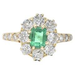 Victorian 0.50 Carat Emerald Diamond and 14 Karat Gold Ring