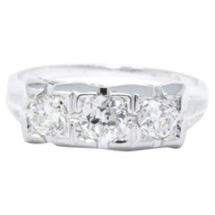 Art Deco 0.65 Carat Old European Diamond and 18 Karat White Gold Ring