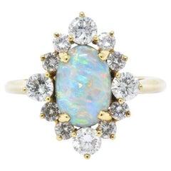 Vintage Black Opal 0.90 Carat Diamond and 18 Karat Gold Ring